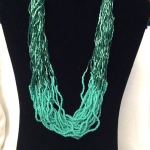 Shades of Green Multi-strand Beaded Ombre Necklace